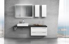 Design Badezimmer Set mit Waschbecken und Waschtischplatte nach Maß in Anthrazit