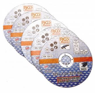 BGS Technic Trennscheiben für Edelstahl 125 x 1, 0 x 22, 2 mm 5tlg.