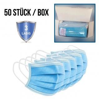 Gesichtsmaske Mund Nasen Schutz BLAU Face Mask 3-lagig 50er Box