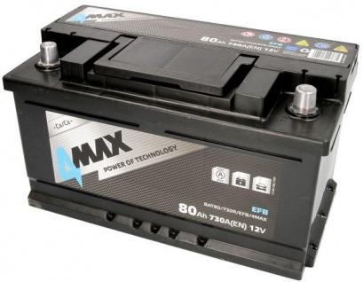 Starterbatterie 4MAX Start-Stop EFB Autobatterie 12V 80Ah 730A