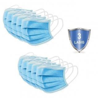 Gesichtsmaske Mund Nasen Schutz BLAU Face Mask 3-lagig 5er Pack