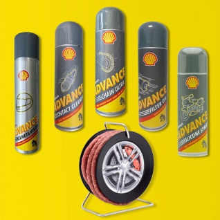 Shell Advance Motorrad Pflege Paket DEAL Filter Reiniger Kettenspray Silikon