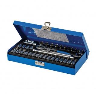 Silverline Steckschlüssel mit Ratschengriff 1/4 Zoll metrisch 38tlg