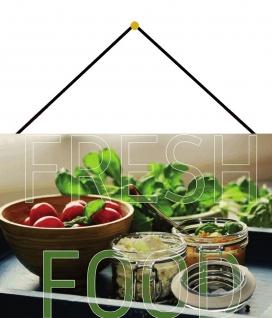 Blechschild Home fresh food Lebensmittel Metallschild Deko 20x30 mit Kordel