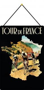 Blechschild Tour de France Metallschild Deko 20x30 tin sign mit Kordel