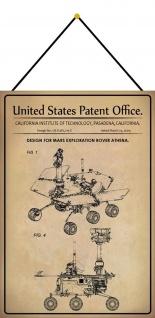 Blechschild Patent Entwurf Exploration Rover Athena Metallschild 20 x 30 Kordel