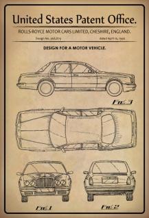 US Patent Office - Design for A Motor Vehicle - Entwurf für ein Kraftfahrzeug - Rolls-Royce England, 1996 - Design No 368.879 - Blechschild