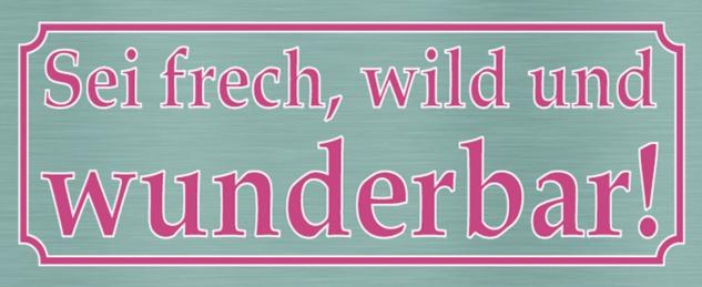 Blechschild Spruch frech wild wunderbar Metallschild 27x10 cm Wanddeko tin sign