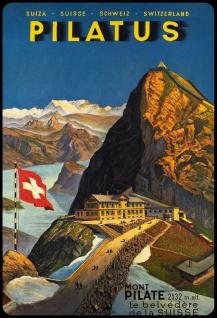 Blechschild Pilatus Schweiz Mont Pilate Metallschild 20x30 cm Wanddeko tin sign