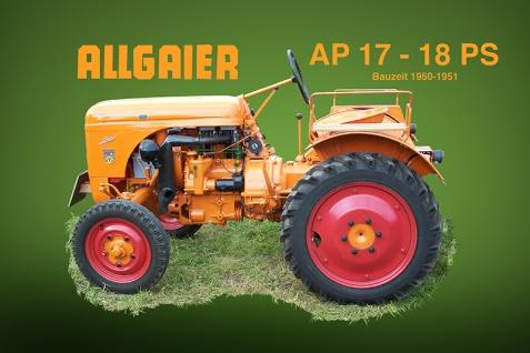 Allgaier AP17 18PS orange tracktor trekker blechschild