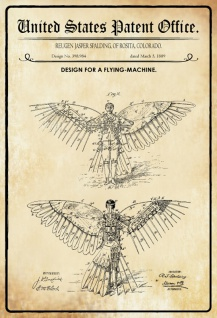 US Patent Office - Design for A Flying Machine - Entwurf für eine Flugmaschine - Spalding, Colorado 1889 - Design No 398.984 - Blechschild