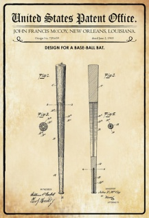 US Patent Office - Design for a Baseball Bat - Entwurf für ein Baseballschläger - Mccoy, Louisiana, 1903 - Design No 729.639 - Blechschild