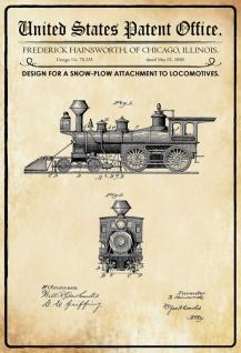 Blechschild Patent Entwurf für Schneepflug Metallschild Wanddeko 20x30 cm tin sign