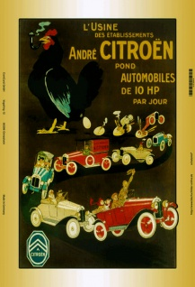 Citroen mit Huhn auto blechschild