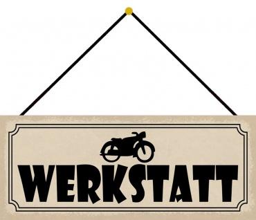 Schatzmix Blechschild Werkstatt (Motorrad) Metallschild Wanddeko 27x10 tin sign mit Kordel