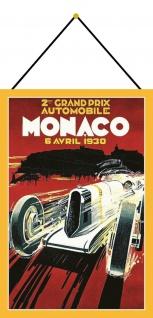 Blechschild Retro 2. Grand Prix Monaco 1930 Metallschild Deko 20x30 mit Kordel