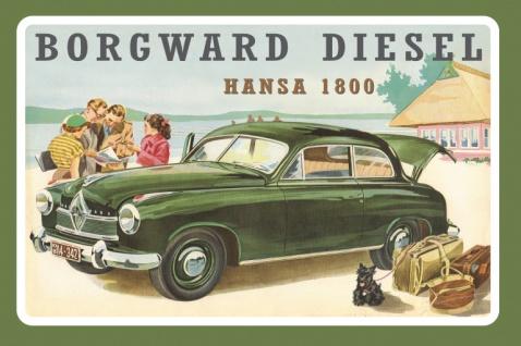 Borgward Diesel Hansa 1800 auto reklame blechschild
