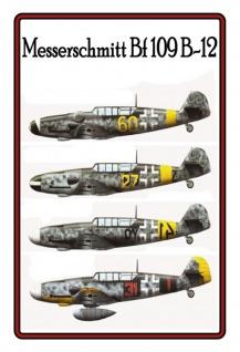 Messerschmitt Bf 109 B-12 Flugzeugmodelle Blechschild 20x30 cm