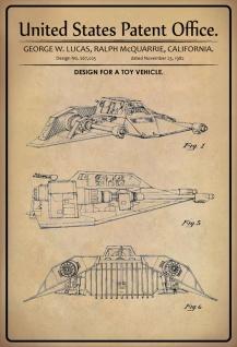 Blechschild Patent Entwurf für Spielzeugraumschiff Metallschild Wanddeko 20x30 cm tin sign