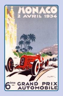 Nostalgie: Grand Prix Automobile Monaco 1934 Blechschild 20x30 cm