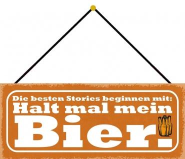 Schatzmix Blechschild Spruch Halt mein Bier Metallschild Wanddeko 27x10 cm mit Kordel