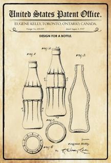 Blechschild Patent Entwurf für eine Flasche-Kelly Metallschild Wanddeko 20x30 cm tin sign