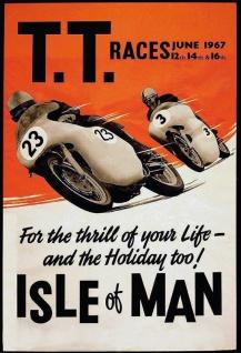 Retro: T.T. Races 1967 Isle of Man (Motorrad) Blechschild 20x30 cm