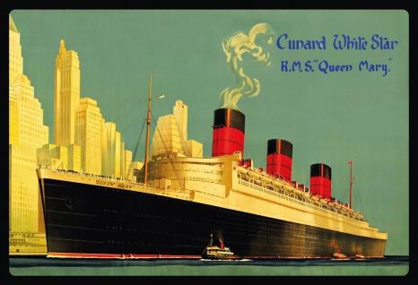 """Blechschild Nostalgie RMS """" Queen Mary"""" Metallschild Wanddeko 20x30 cm tin sign"""