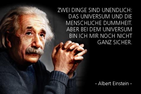 Albert Einstein - Zwei Dinge sind unendlich:? Spruch Blechschild 20x30 cm