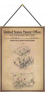 Blechschild Patent Entwurf für eine Kassettenrekorder Deko 20 x 30 m.Kordel