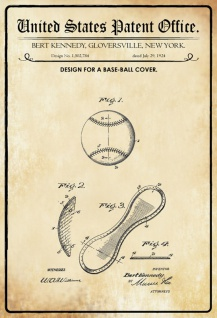 US Patent Office - Design for a Baseball Cover - Entwurf für ein Baseball - Kennedy, New York, 1924 - Design No 1.502.784 - Blechschild