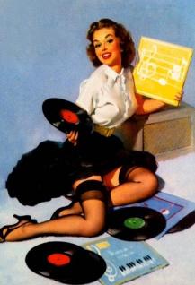 Nostalgie Pin up sexy Frau mit Schallplatten Blechschild 20x30 cm