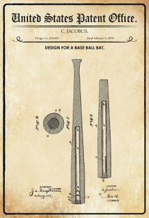 US Patent Office - Design for a Baseball Bat - Entwurf für ein Baseball schläger - Jacobus, 1894 - Design No 514.420 - Blechschild