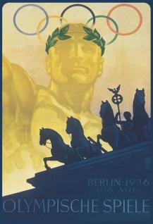 Blechschild Retro Olympische Spiele 1936 Berlin Metallschild Wanddeko 20x30cm tin sign