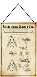 Blechschild Patent Entwurf für einen Fliegen - Fischköder 20 x 30 m.Kordel