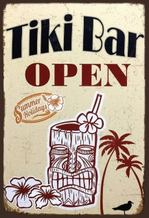 Blechschild Tiki Bar Open - Summer Holidays Metallschild Wanddeko 20x30 tin sign