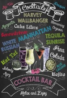 Cocktails bar sorten, typen übersicht schwarz hintergrund blechschild