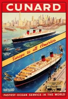 Blechschild Nostalgie Steamship Europe to all America Metallschild Wanddeko 20x30 cm tin sign