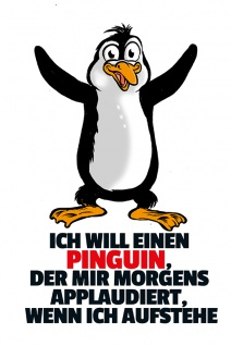 Penguin applaudiert blechschild, lustig, comic, metallschild
