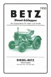Betz dieselschlepper 1950 tracktor trekker blechschild