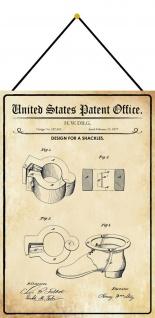 Blechschild Patent Entwurf für Fesseln Metallschild Deko 20 x 30 m.Kordel