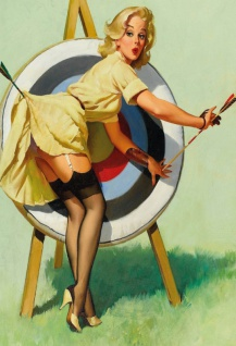 Nostalgie Pin up sexy Frau vor Zielscheibe Blechschild 20x30cm