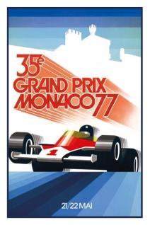 Retro: 35. Grand Prix Monaco 1977 Blechschild 20x30 cm