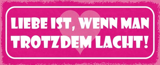 Blechschild Spruch Liebe ist, wenn man trotzdem lacht! Metallschild 27x10 Deko tin sign