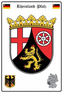 Blechschild Rheinland Pfalz Wappen Metallschild Wanddeko 20x30 cm tin sign