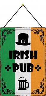 Blechschild Irish pub (Bierkrug) Metallschild 20x30 cm Deko mit Kordel