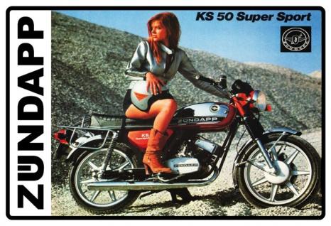 Zündapp KS50 Super Sport frau am motorrad blechschild