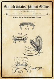 US Patent Office - Design for A Toilet Seat and Cover - Entwurf für ein Toilettensitz und Abdeckung - MacDonald 1936 - Design No 2.047.480 - Blechschild