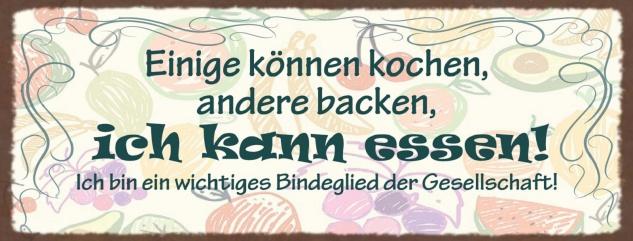 Blechschild Spruch Einige können kochen, andere backen Metallschild Wanddeko 27x10 cm tin sign