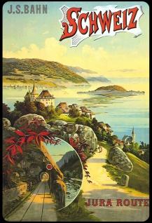 Blechschild Schweiz Jura Route Metallschild 20x30 cm Wanddeko tin sign